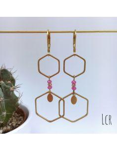 Boucles d'oreille hexagones laiton, pierres rose peps