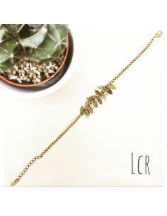 Bracelet feuilles en laiton
