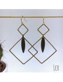 Boucles d'oreille duo de carrés laiton, navette émaillée noir