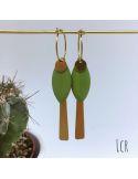 Petites créoles avec grandes navettes émaillées vert