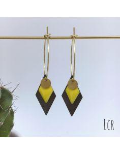 Grandes créoles, losange émaillé jaune