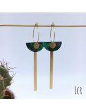 Boucles d'oreille créoles, demi-lune en acétate vert