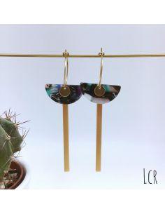 Boucles d'oreille créoles, demi-lune en acétate multicolor