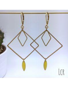 Boucles d'oreille grand carré et losange, navette émail jaune