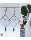 Boucles d'oreille grand carré et losange, navette émail vert