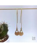 Boucles d'oreille grande hanse, goutte laiton et perle de cristal blanc