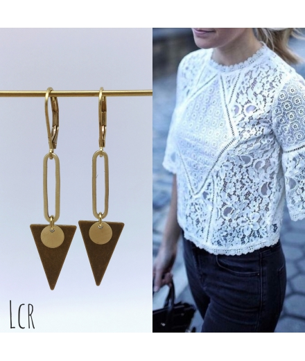 Boucles d'oreille triangle laiton
