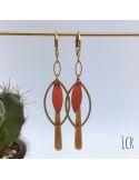 Boucles d'oreille anneau feuille, navette émaillée corail