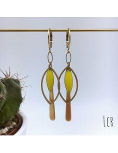 Boucles d'oreille anneau feuille, navette émaillée jaune