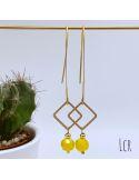 Boucles d'oreille grande hanse, petit carré laiton, perle jaune