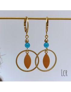 Boucles d'oreille anneau et feuille laiton avec avec oeil de chat bleu ciel