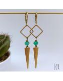 Boucles d'oreille anneau carré et long triangle en laiton avec perle de verre menthe