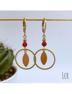 Boucles d'oreille anneau et feuille laiton, perle rouge