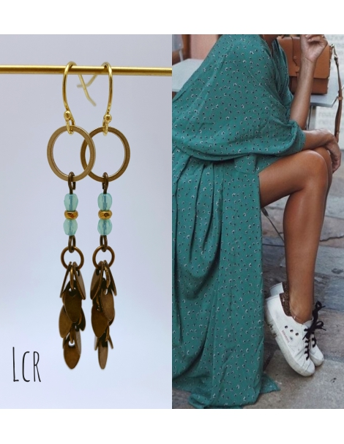 Boucles de verre feuillus et perles turquoises