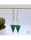 Boucles d'oreille émail turqipose en triangle