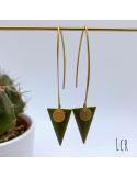 Boucles d'oreille émail kaki en triangle